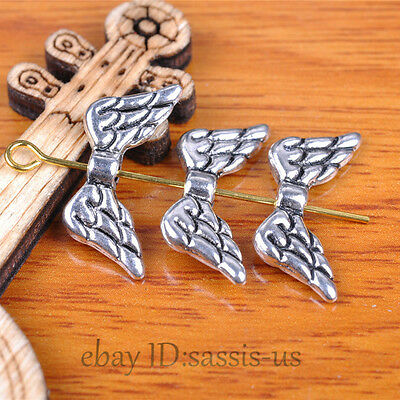 50 pieces 19mm Angel Wing Spacer Beads Tibetan Silver DIy Jewelry Making A7341