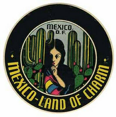 Mexico City - Land Of Charm -  Vintage 50's Style Travel Decal sticker