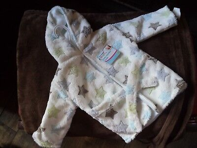 Soft, snug, starry, First Steps baby hooded bath robe/dressing gown One Size NWT
