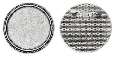 Brooch pin setting round tray 30 mm antique silver for cabochon glass pack of 10