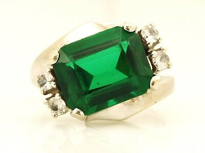 14k white gold 10x8mm green glass size 2.5 bypass wrap ring estate vintage 4.09g