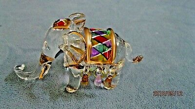 Good Luck Crystal Elephant Figurine w/Colorful Saddle and Gold Trim China