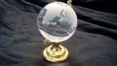 VINTAGE Glass Clear World Earth Globe, Etched Crystal World