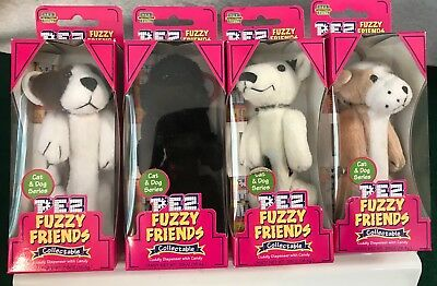 PEZ Fuzzy Friends ~ Set of 4 Clip On Key Chain Candy Dispensers ~ MINT IN BOX
