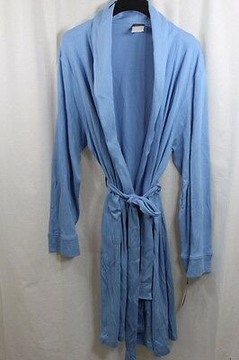 Mens Womens Hudson Park Collection Blue 100% Egyptian Cotton Robe Large New
