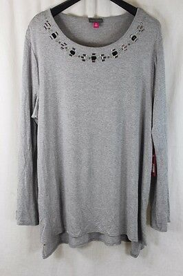 775cd7cc8e6db7 Womens Vince Camuto Grey Jeweled Scoop Neckline Ls Shirt Size 2X New W Tags   89
