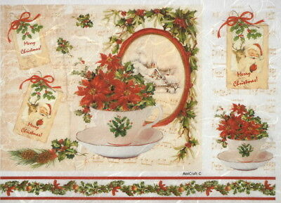 Rice Paper for Decoupage, Scrapbook Sheet, Christmas teacups
