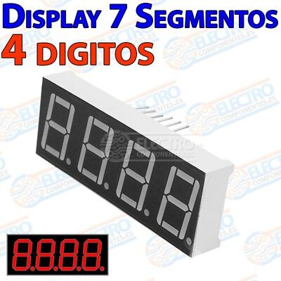 Display LED 7 segmentos 4 digitos ROJO catodo comun 14mm 0,56 pulgadas - Arduino