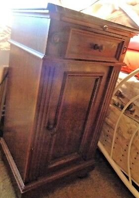 Antique Black White Marble Top End Side Cabinet Table Nightstand