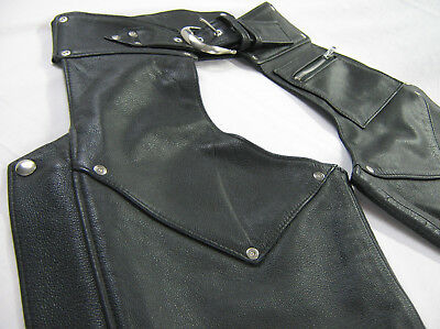 VINTAGE UnCuT women's HARLEY DAVIDSON Leather Chaps XS EXTRA SMALL Black THICK