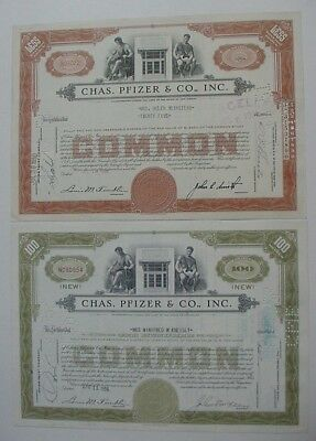 1950 & 1956 Chas Pfizer & Co., Inc 2-Color Stock Certificates