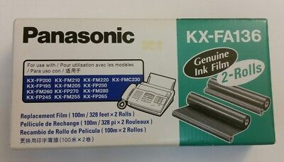 Panasonic KX-FA136 Genuine Ink Film FAX Print 2 Rolls New In Box Sealed