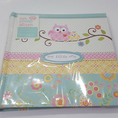 Unused CR Gibson HAPPI Owl Pink Green Baby Girl Large Photo Album 160 4x6 Pic