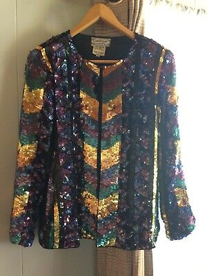 Vintage Candlelight Evening Sequin Jacket by Jainsons International, Size Small