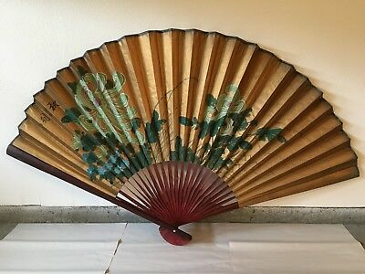 Large Asian Wall Fan (Old Chinese China Japan Floral Flower Painting Signed Art)