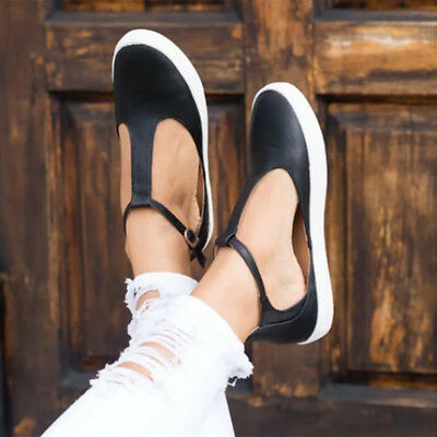 AU Womens Sneakers Loafers Closed Toe Flat Shoes Footwear Ankle Strap Plus Size