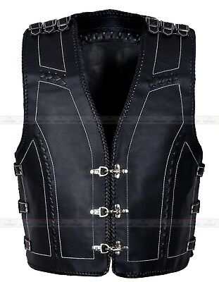 Mens Motorcycle leather Waistcoat 333 with 15 Buckles on sides and shoulder