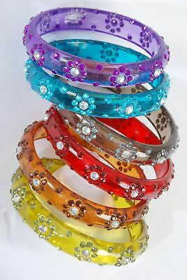 "Lot of nice 6 Acrylic 3"" Transparent Bangles with Flower Rhinestones - Plus size"