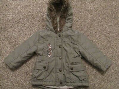 Baby Girls Ex Jo*n Lew*s Winter Coat Jacket Hooded Fleece Lined Warm 6M-3Y