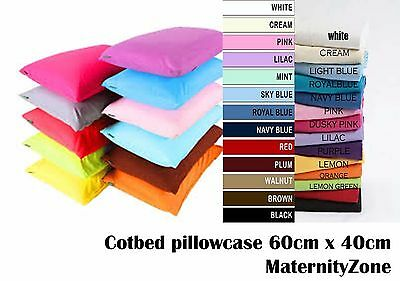 BRAND NEW 100% COTTON BABY COT BED PILLOW CASE 60CM x 40CM