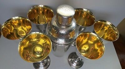 Sterling 950 Arts Crafts Hammered Cocktail Or Martini Shaker & 6 Cup Set