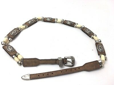 "Children's Youth Girls Country Leather Belt with Beads (24"") Small Western Heavy"
