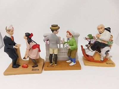 1980 Danbury Mint Norman Rockwell Figurines LOT OF 3 Gramps Rivals 1st Dance