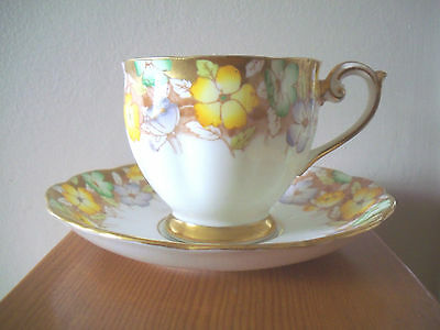 Antique Bell China  Fine Bone China Cup & Saucer Scalloped Floral Gold #2357