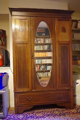 Antique Victorian Inlaid Wardrobe and Matching Dressing Table