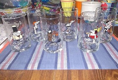 Set of 6 Arby's WIZARD OF ID Glasses 1983