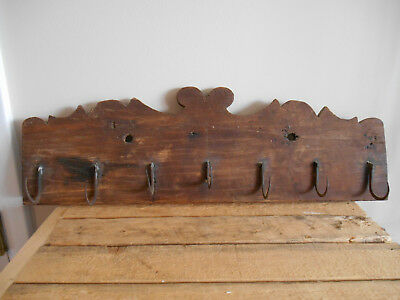 Antique Early Primitive Wood Game Fowl Herb Rack 7 Hand Forged Hooks Folk Art