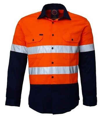 Ritemate Kid's Open Front Hi-Vis Work Shirt - Orange/Navy - Size 5-6