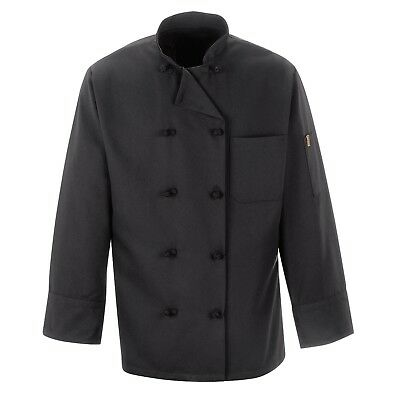 NEW Lot/QTY (5) Chef Coats/Jackets~10 knotted buttons (M) Unisex~Black~Polyester