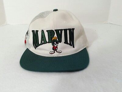 Marvin The Martian 1991 Looney Tunes Embroidered Cream Green Snapback Hat