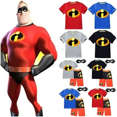 UK Newest Kids The Incredibles 2 Superhero T-Shirt+Shorts Costume Cosplay Sets