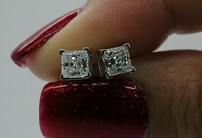 2ct Princess Cut Stud Earrings in Solid 14k Real White Gold Screw Back