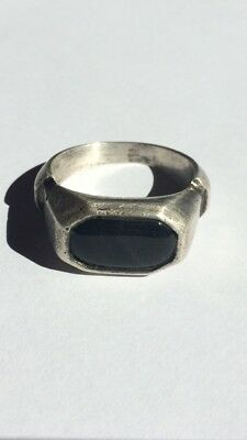 Very Old Vintage Men 100% Real 925 Sterling Silver Ring Black Stone Size 10.5 US