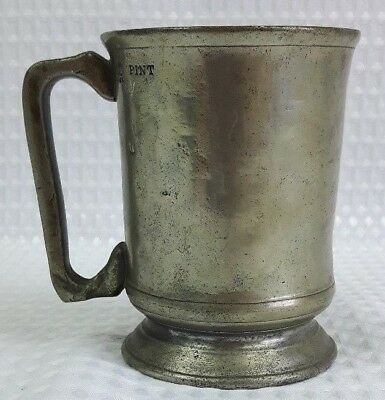 Antique Pewter Pint Tankard By Sanders & Sons Full Markings - Victorian