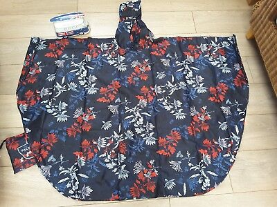 Joules french navy fay red floral poncho raincoat mac coat jacket 10 12 14 16 18