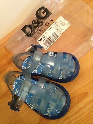 246f2160545be D G JUNIOR DOLCE   Gabbana Blue Jelly Sandals - UK Size 3