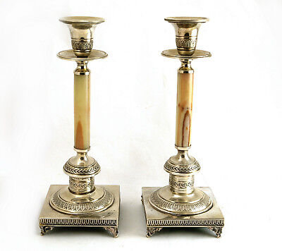 Pair Antique Neo-classical Italian Silver Onyx Candlesticks Fornetti Florence