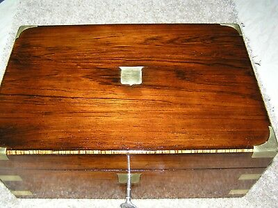 Antique Victorian Rosewood Campaign Writing Slope, Secret Drawers, Lock & Key.