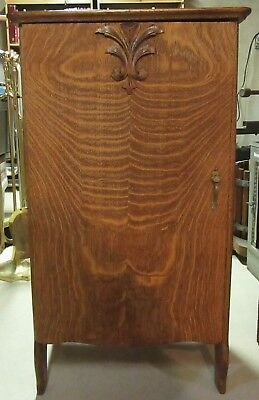 """Vintage Tiger Wood Record Sheet Music Cabinet with Door Latch """"PICK UP ONLY"""""""