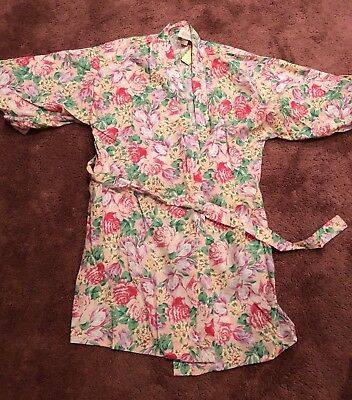 Andrew Downs Bright Floral Bathrobe, Casual Wear Sz Petite New Vintage
