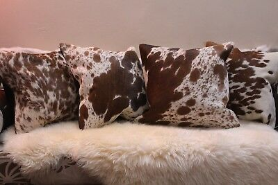Brown And White Cowhide Cushion Cover Hair On Cowskin