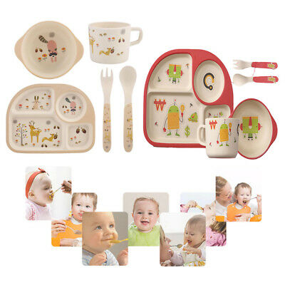 5Pcs Kids Tableware Set Bamboo Fiber Dinnerware Meal Feeding Plate+Bowl+Cup