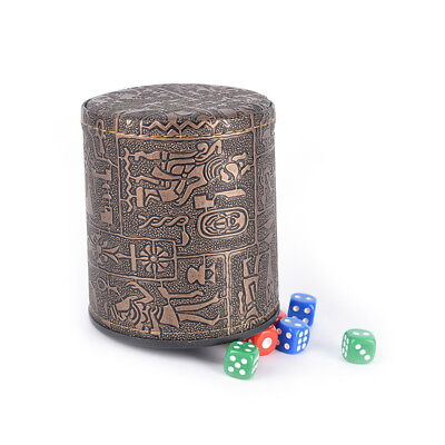 1 pc High Quality Brown Leather Rune Dice Cup PU leather 82x82x91mmVP