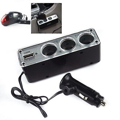 3 Way Multi Socket Car Cigarette Lighter Splitter USB Plug Charger DC 12V/2 VP