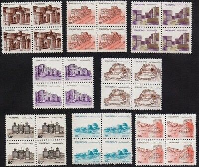 Pakistan,definitive series,1984,forts,castles,MNH,Block of 4