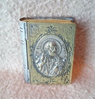 Antique Silver Plate Stamp Case Box Continental Italian Grand Tour Rome St Peter